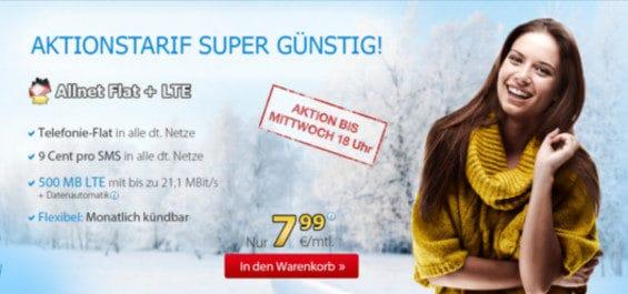 DeutschlandSIM Winter-Aktionstarif Allnet Flat + LTE