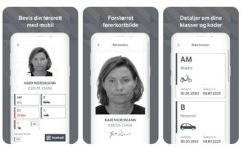 Norwegischer Führerschein auf dem Handy