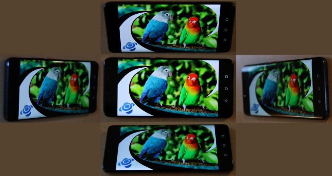 Das Display des Huawei Mate 20 Pro aus verschiedenen Betrachtungswinkeln