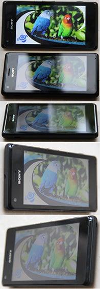 Display des Sony Xperia M aus verschiedenen Betrachtungswinkeln