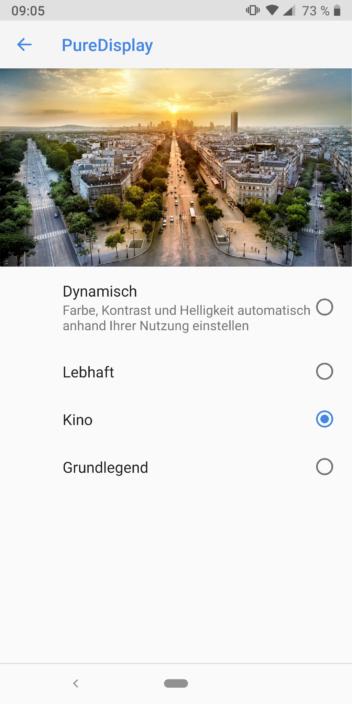 Display-Einstellungen Nokia 9 PureView