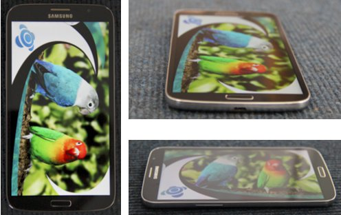 Display-Ansichten des Samsung Galaxy Mega