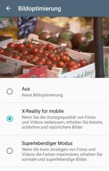 Display-Einstellungen Sony Xperia XZ Screenshot
