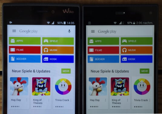 Displayhelligkeit Wiko Rige 4G vs. Phicomm Passion