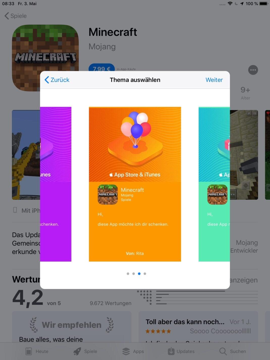 Hintergrund für App-Geschenk auswählen.