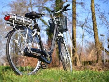Ein von schräg hinten fotografiertes E-Bike steht auf einer Wiese