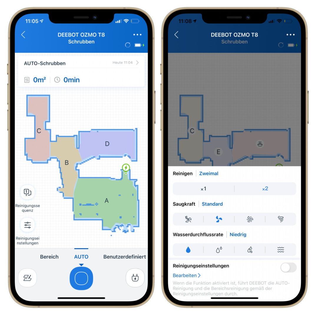 Die App des Ecovacs Deebot Ozmo T8