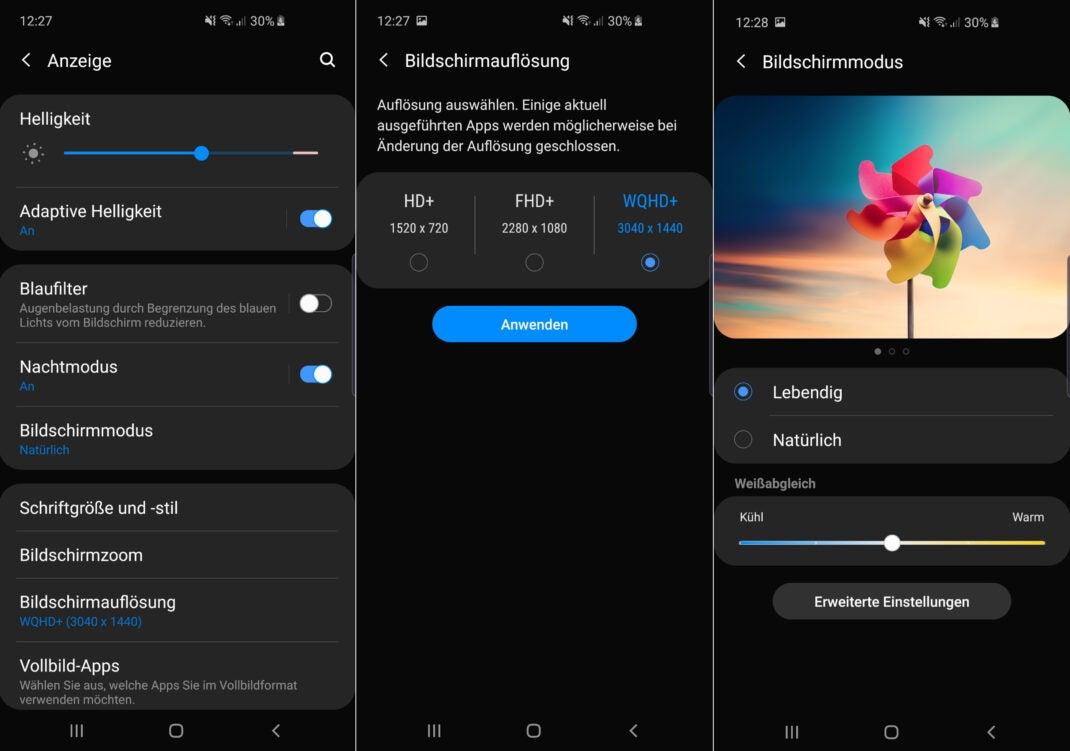 Drei Screenshots zeigen die Display-Einstellungen des Samsung Galaxy S10