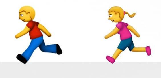 Männlicher Läufer und weibliche Läuferin als Emoji