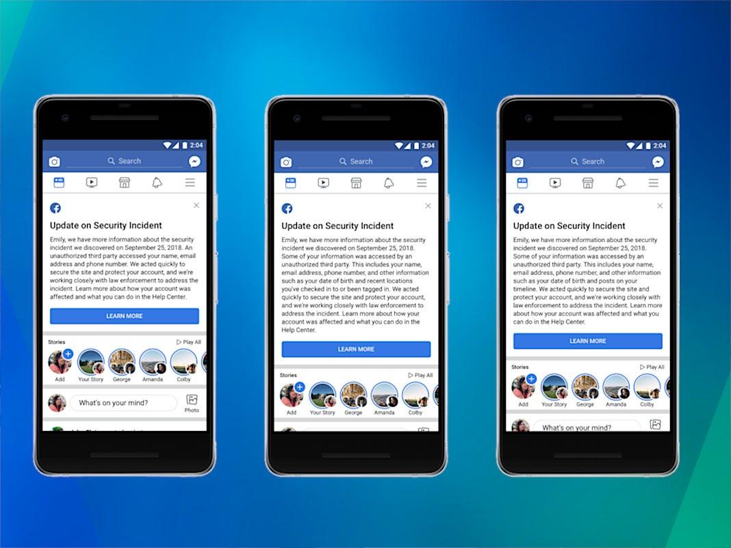 Benachrichtigungen beim Facebook Hackerangriff auf einem Smartphone