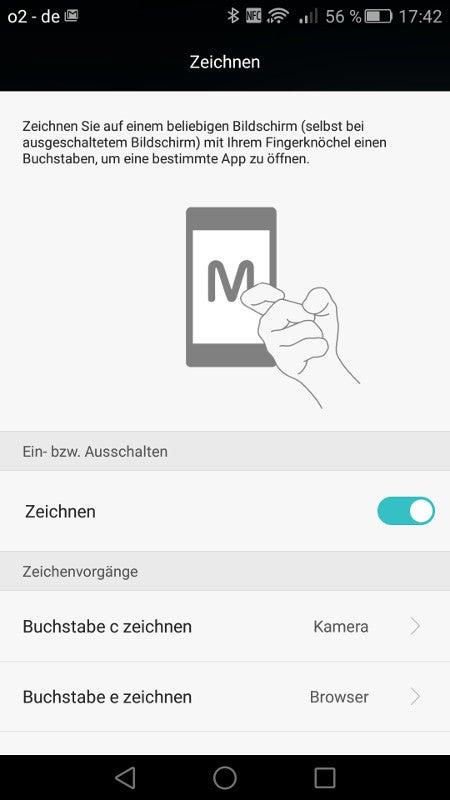 Fingerknöchel-Software auf dem Huawei Mate S