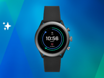Fossil Sport Smartwatch auf blaugrünem Grund