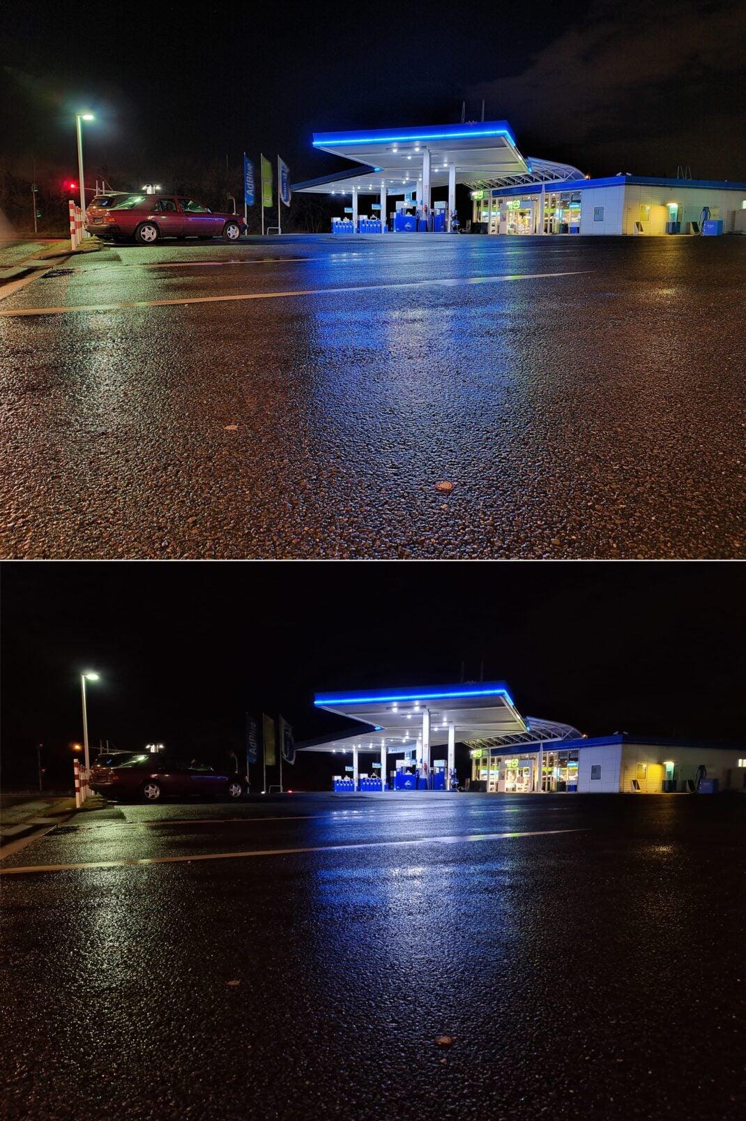 Nachtfotografie: Galaxy S20 Ultra mit eingeschaltetem Nachtmodus (oben) und ohne die Einstellung (unten)