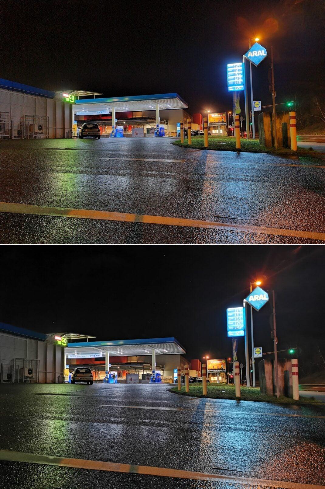 Foto bei Nacht: Oben Samsung Galaxy S20 Ultra, unten Huawei P30 Pro