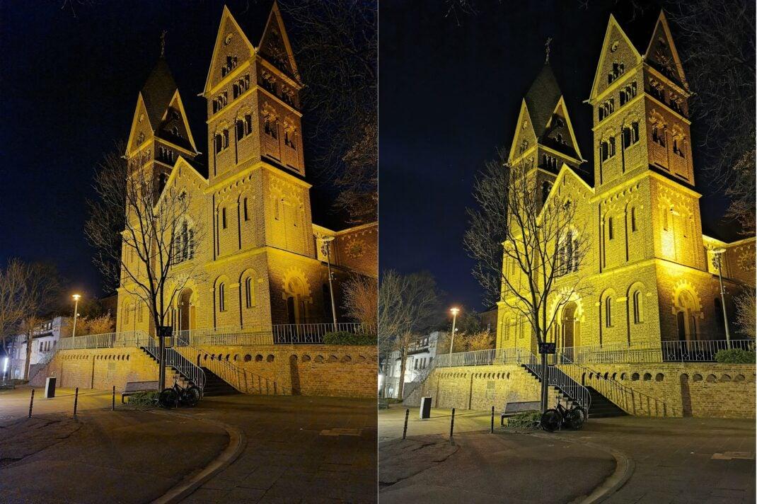 Foto bei Nacht: Links Samsung Galaxy S20 Ultra, rechts Huawei P30 Pro