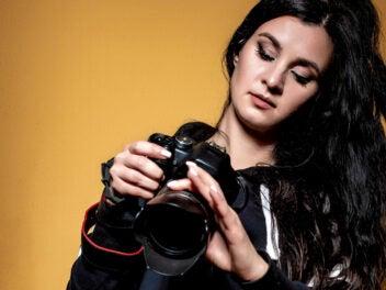 Frau, Kamera, Fotograf, Fotografin, DSLR, Spiegelreflex