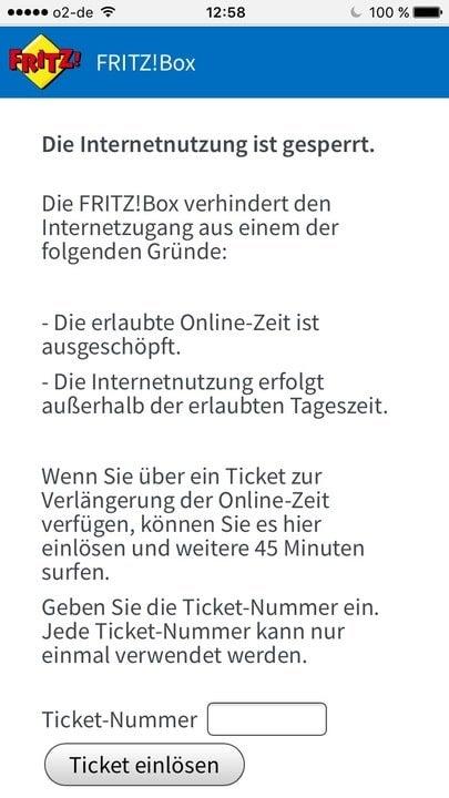 FritzBox Ticket