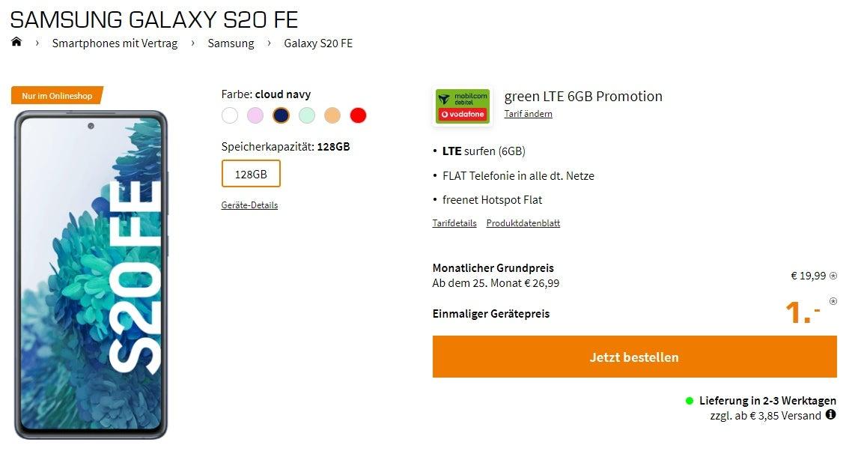 Samsung Galaxy S20 FE mit Vodafone-Tarif bei Saturn