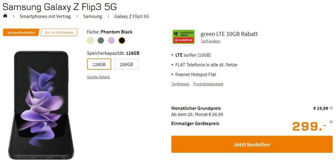 Screenshot: Samsung Galaxy Z Flip3 mit tarif bei Saturn