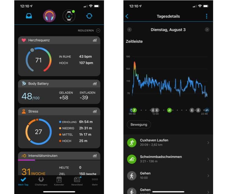 Screenshots aus der Garmin Connect App
