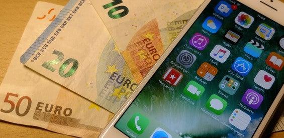 Geld Handy Smartphone Kaufen Konsum Verkauf Symbol Bild groß