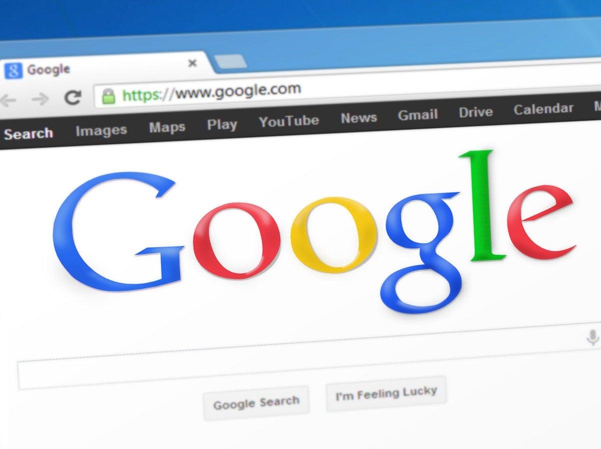 Browser mit der Startseite Google.