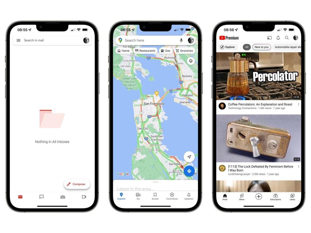 Screenshots von Gmail, Google Maps und YouTube in iOS 15