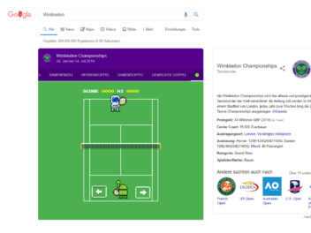 Easter Egg bei Google Tennis in Wimbledon