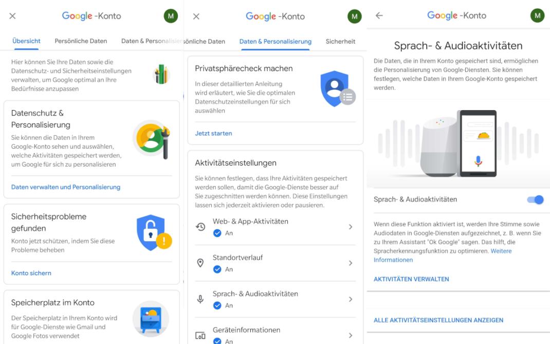 Screenshots der Einstellungen im Google-Konto