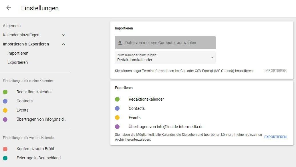 Screenshot: Google-Kalender im Browser