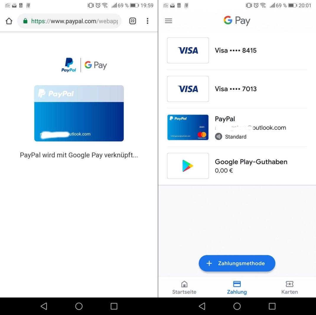 Screenshots zeigen die Verknüpfung von Google Pay mit Paypal