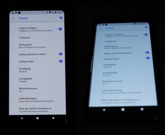 Google Pixel 2 XL mit Blaustich im Display