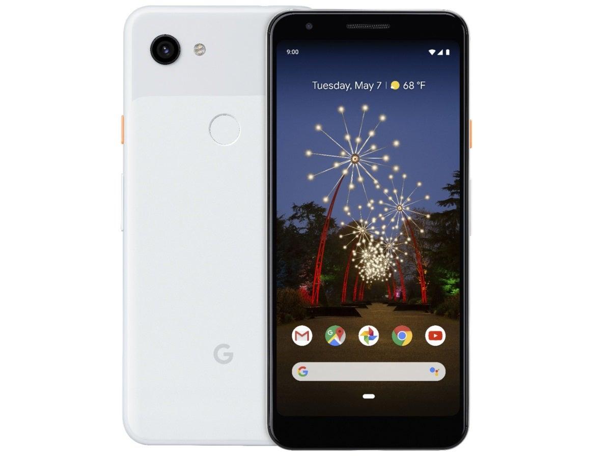 Das Google Pixel 3a in Weiß von vorne und hinten.