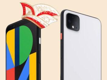 Google Pixel 4 mit Narrenkappe
