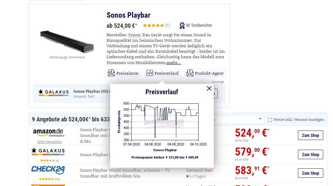 Preisverlauf-Grafik von guenstiger.de