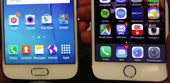 Homebutton Galaxy S6 vs. iPhone 6