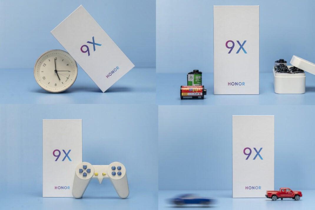 Honor 9X mit Spielzeugauto, Uhr, Kamerafilmen und Controller