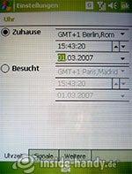HTC P3600: Zeiteinstellungen