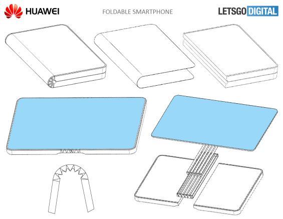 Schematische Darstellung des faltbaren Huawei-Smartphones
