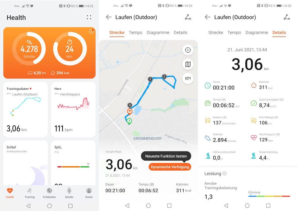 Huawei Health App Screenshots