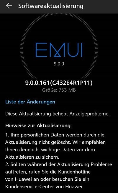 Huawei Mate 10 Pro Android-9-Update