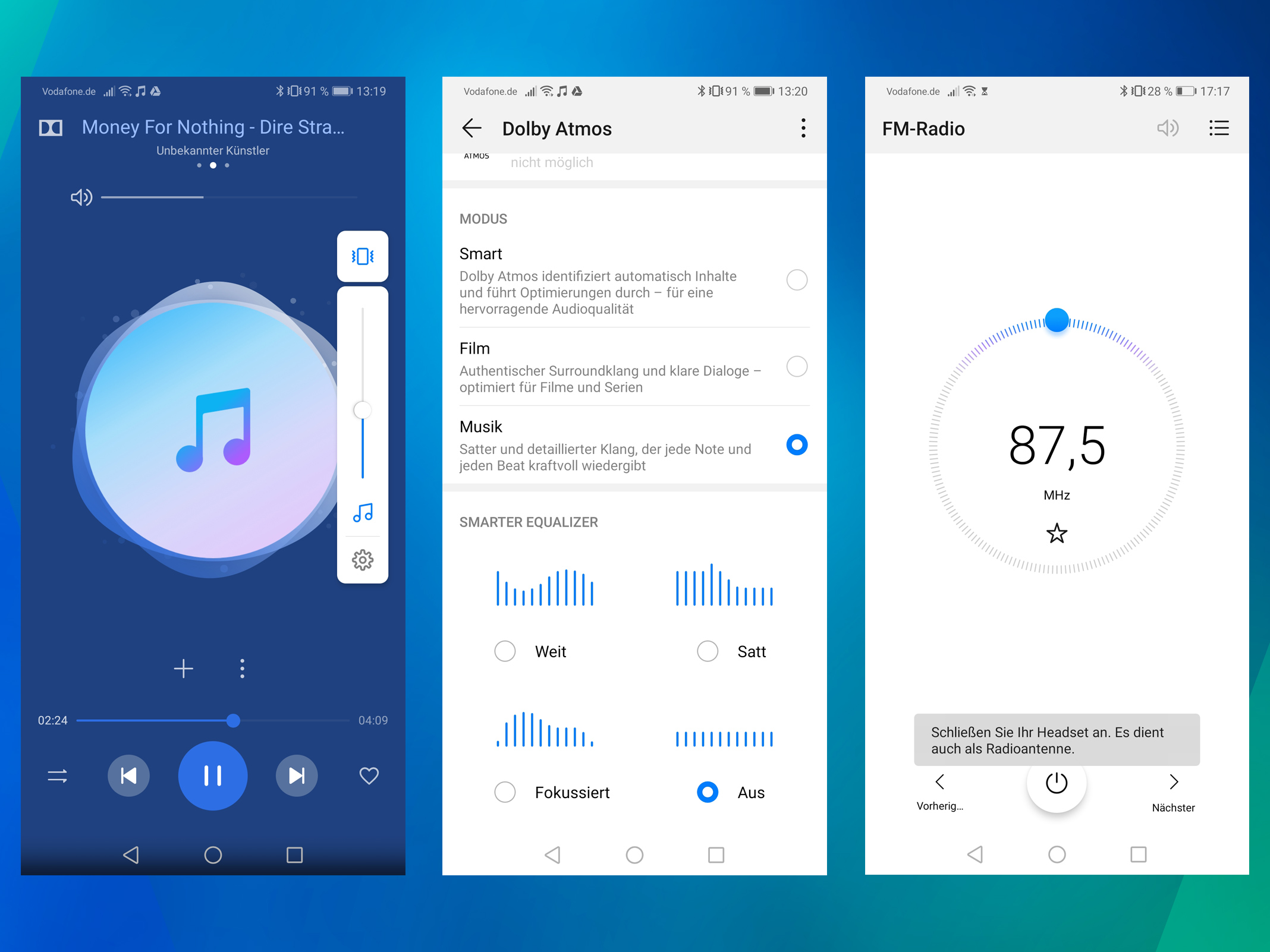 Huawei Mate 20: Audio, Sound und UKW-Radio