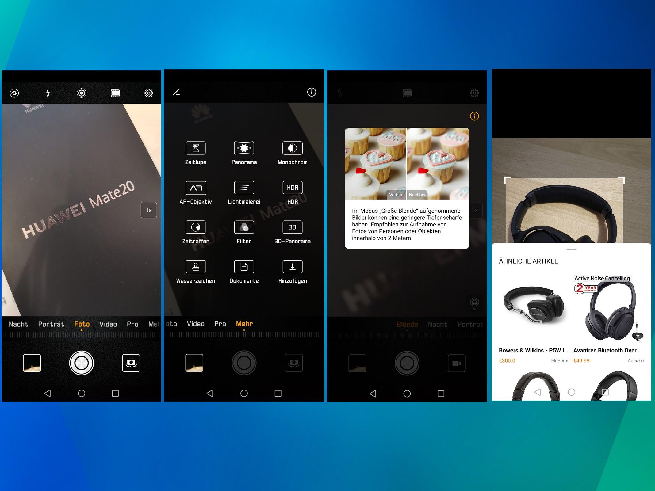 Screenshots aus der Kamera-App des Huawei Mate 20.