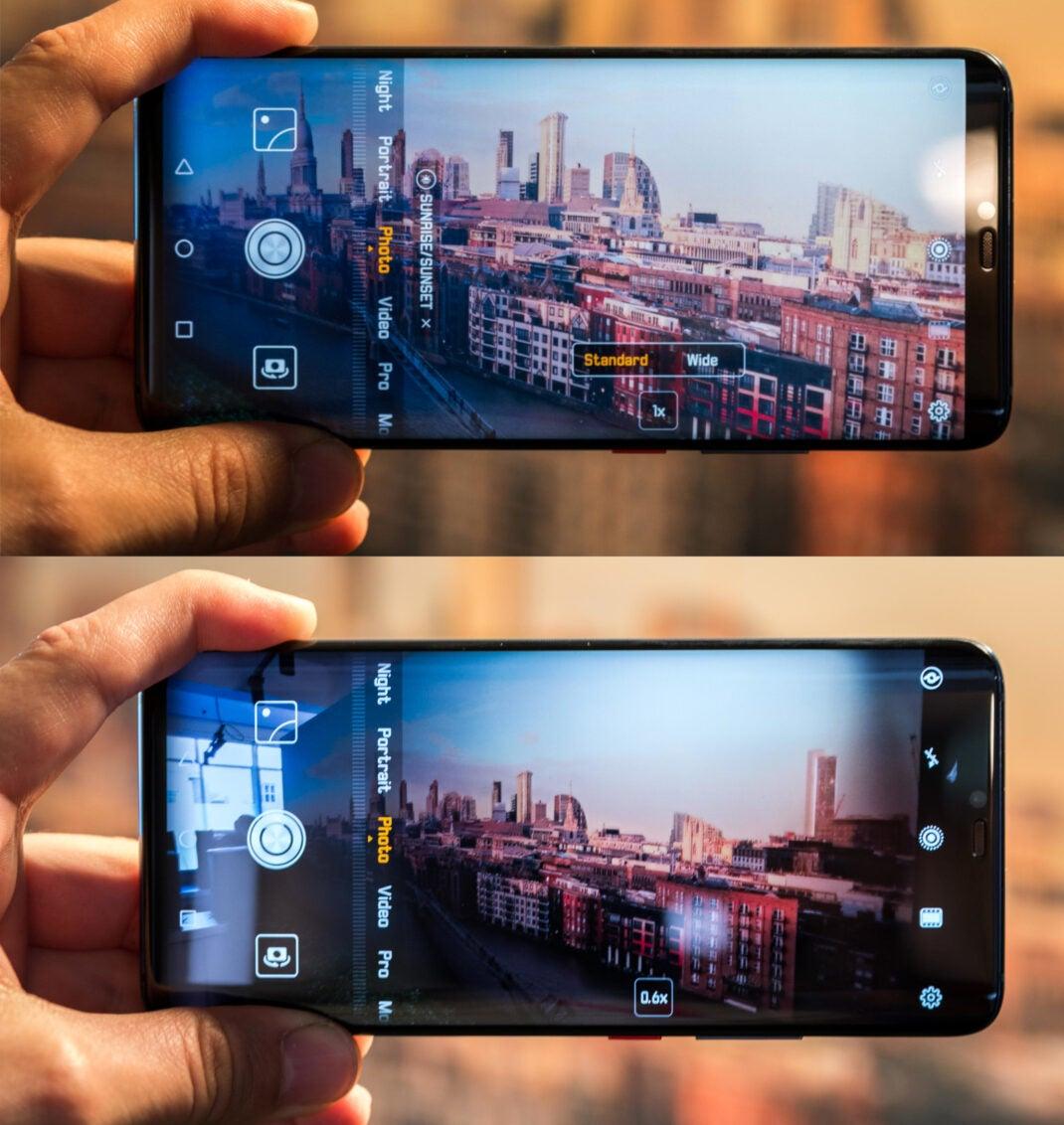 Die Kamera-App des Huawei Mate 20 Pro mit den Brennweiten Normal und Ultraweitwinkel