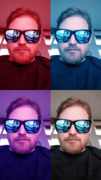 Mann mit digitaler Sonnenbrille mit buntem Hintergrund