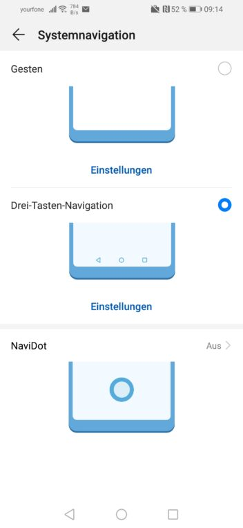 Screenshot der Systemnavigation des Huawei P smart 2019 im Test
