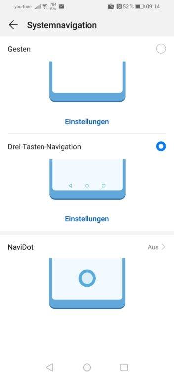 Screenshot der Systemnavigation des Huawei P smart 2019 im Test