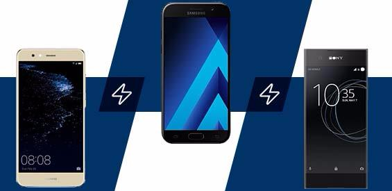 Huawei P10 lite, Samsung Galaxy A5 (2017) und Sony Xperia XA1