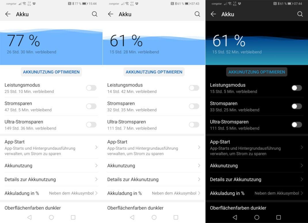 Screenshots des Akkuverbrauchs des Huawei P30 Pro