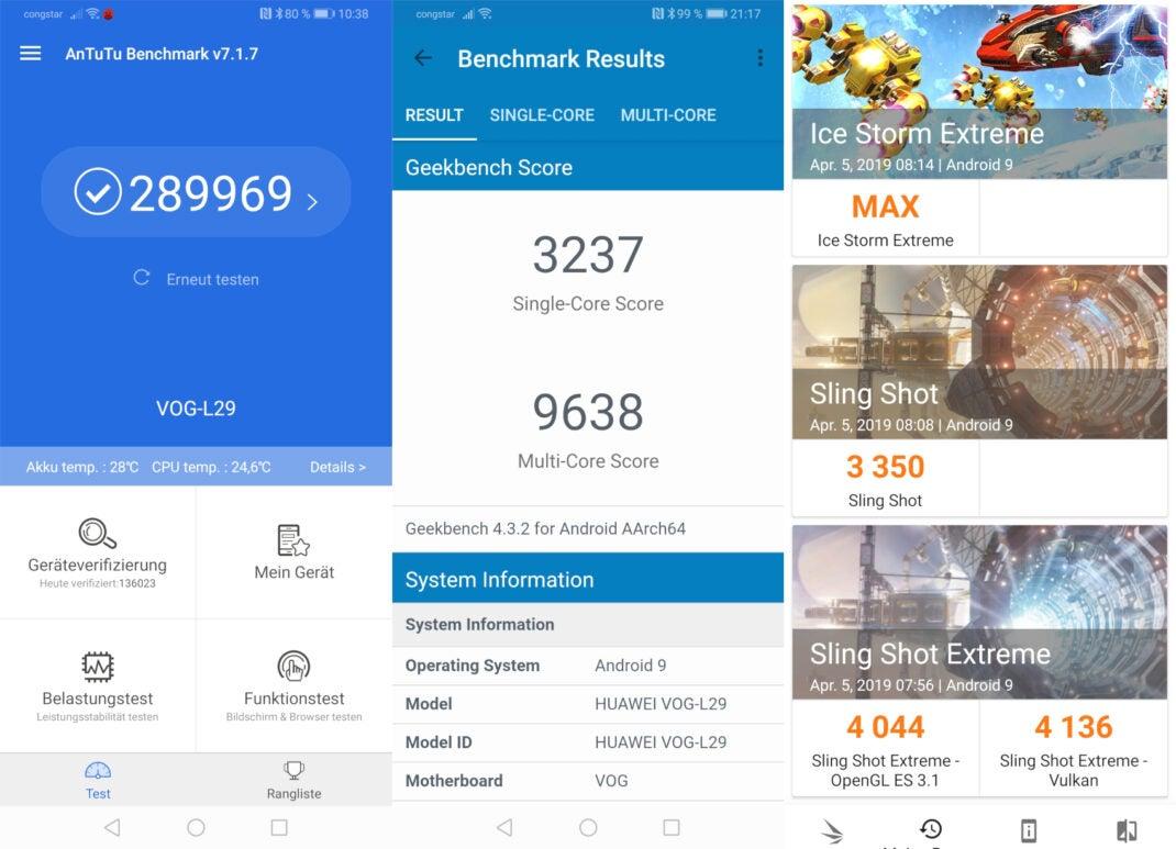 Screenshots von Benchmark-Ergebnissen mit dem Huawei P30 Pro